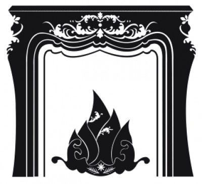 Vinyl sticker fireplace