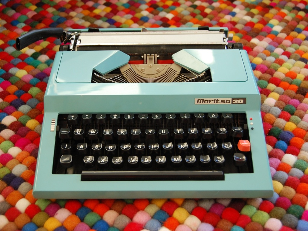 Meet my new typewriter, vintage china... and, um, butter churner