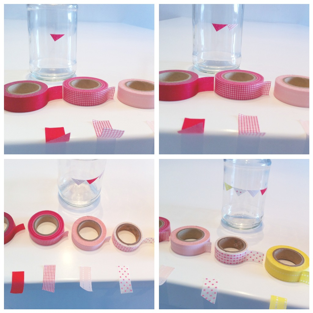 bunting jars convopieces I Do DIY... jam jars with bunting and hearts washi tape