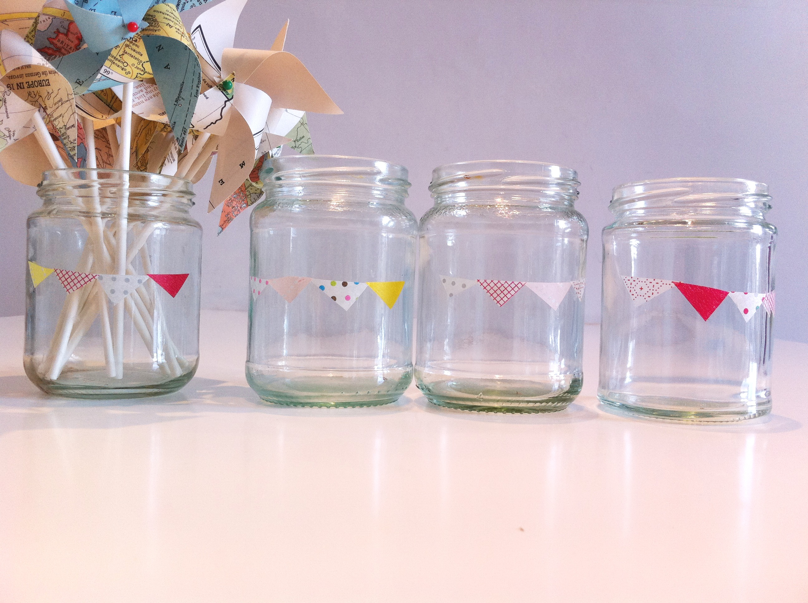 I Do Diy Jam Jars With Bunting And Hearts Washi Tape Conversation Pieces