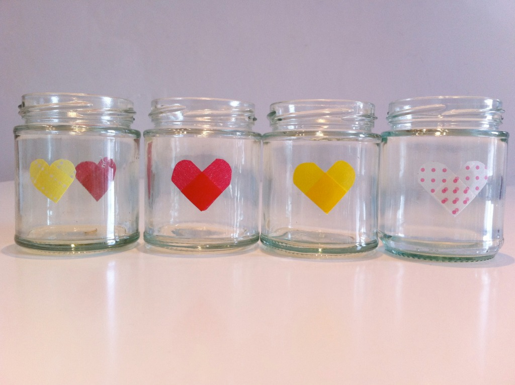 I Do DIY... jam jars with bunting and hearts washi tape