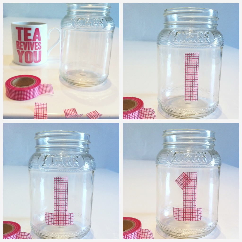 number jars convopieces I Do DIY... jam jars with bunting and hearts washi tape